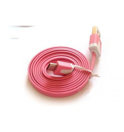 Fladt USB til Micro USB kabel - 1 meter Pink