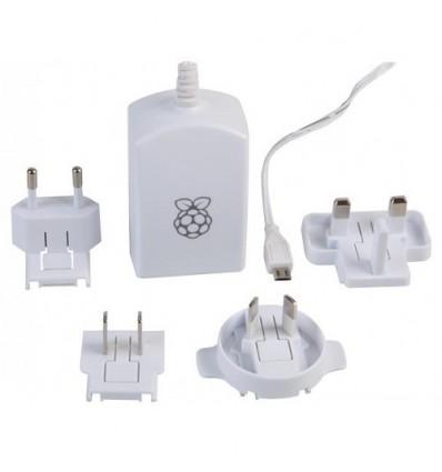 Strømforsyning til Raspberry Pi - 5V 2A - Micro USB stik - Hvid